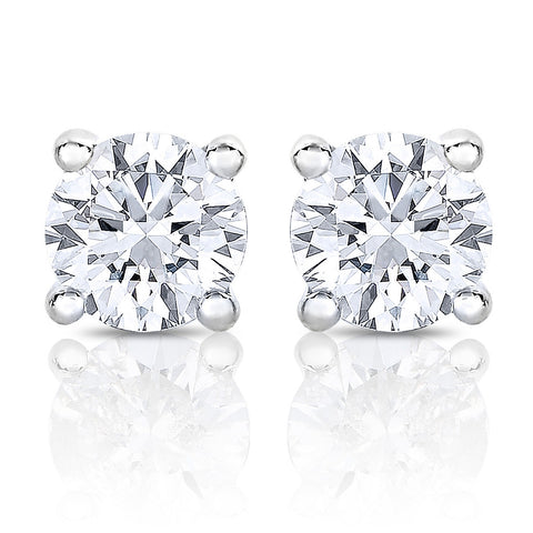 14k White Gold Round Solitaire Diamond Stud Earrings (1/2 cttw, H-I, I1-I2)
