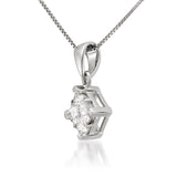 14K White Gold Princess-cut Diamond Invisible-Set Pendant Necklace (1/2 cttw, I-J, I2-I3)