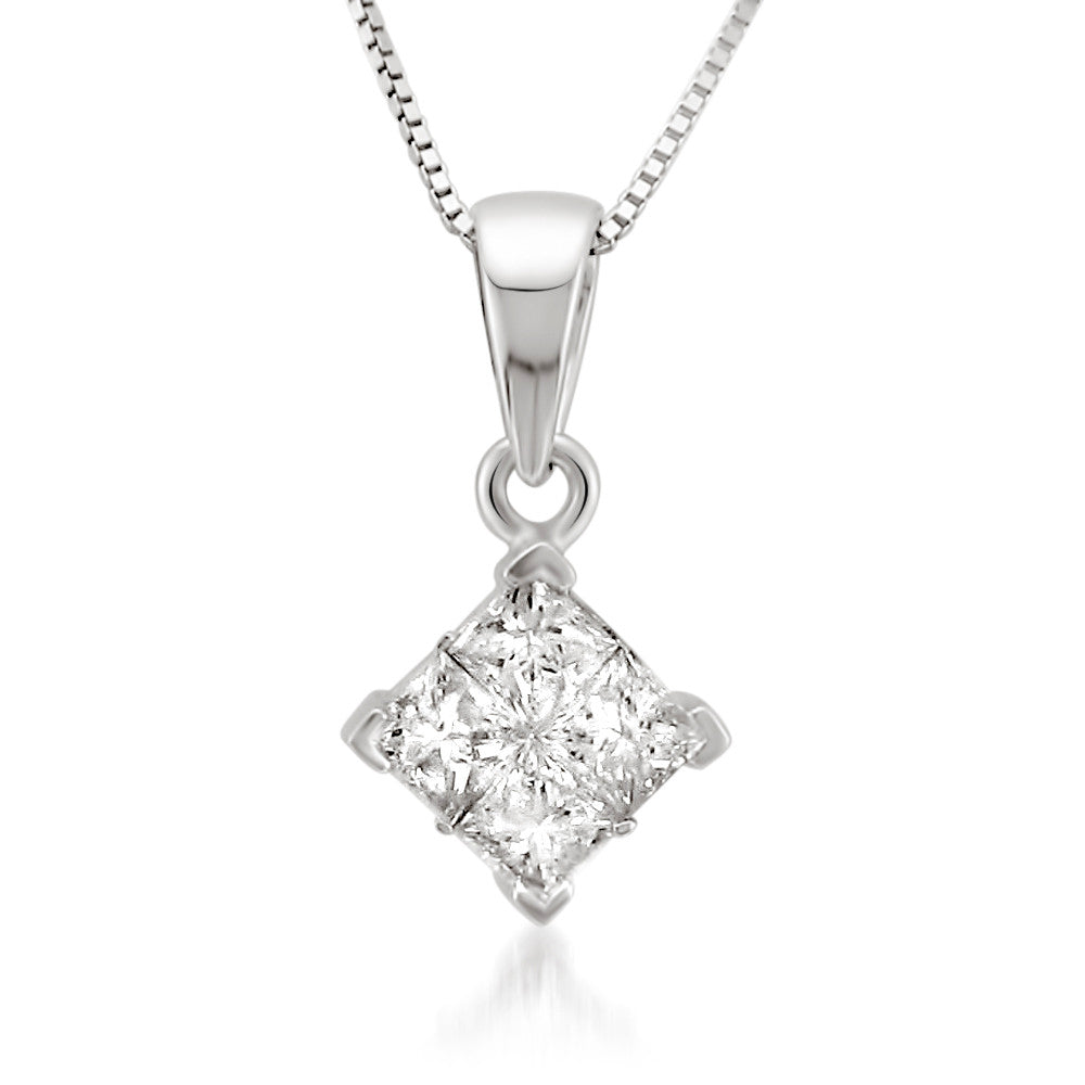 aurora pendant diamond princess cut white