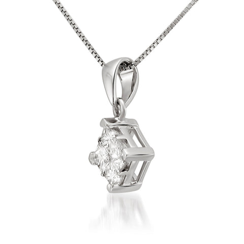 14K White Gold Princess-cut Diamond Invisible-Set Pendant Necklace (1/4 cttw, I-J, I2-I3)