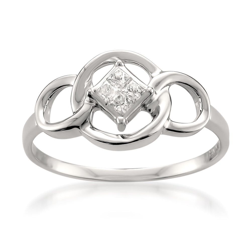 14k White Gold Princess-cut Diamond Invisible-Set Celtic-style Engagement Ring (1/10 cttw, H-I, I1-I2)