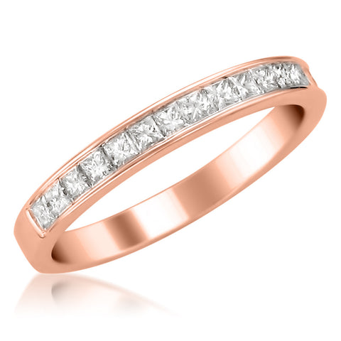 14k Rose Gold Princess-cut Diamond 16-stone Bridal Wedding Band Ring (1/2 cttw, H-I, SI2-I1)
