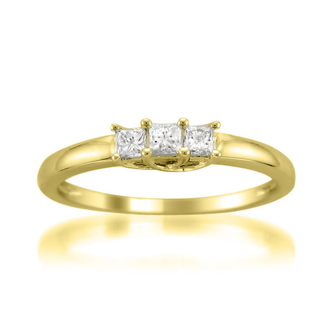 14k Yellow Gold Princess-cut 3-Stone Three-Stone Diamond Engagement Wedding Ring (1/4 cttw, H-I, I1-I2)