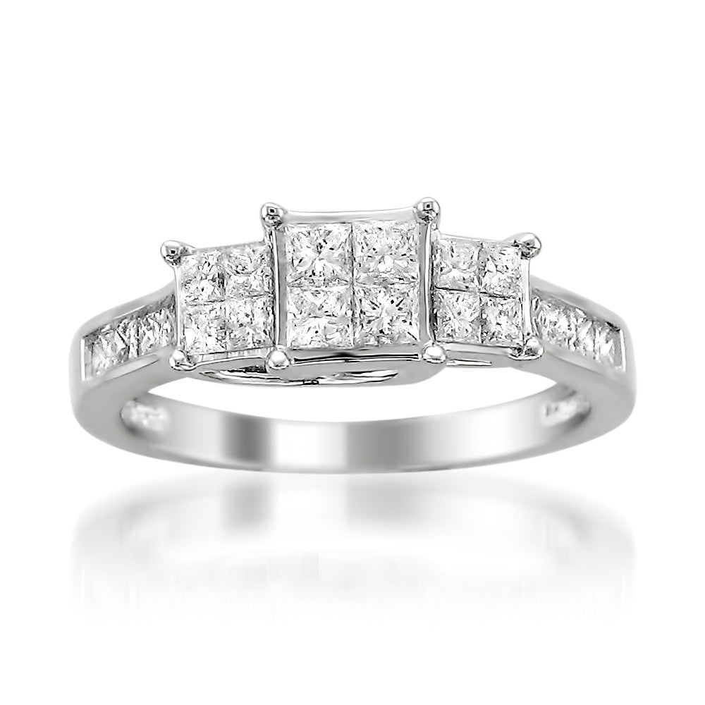 14k White Gold Princess-cut Diamond Invisible-Set Engagement Wedding Ring (1 cttw, H-I, I1-I2)