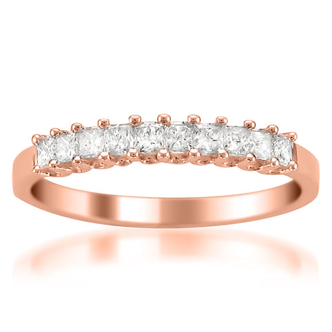14k Rose Gold Princess-cut Diamond Bridal Wedding Band Ring (1/2 cttw, H-I, I1-I2)