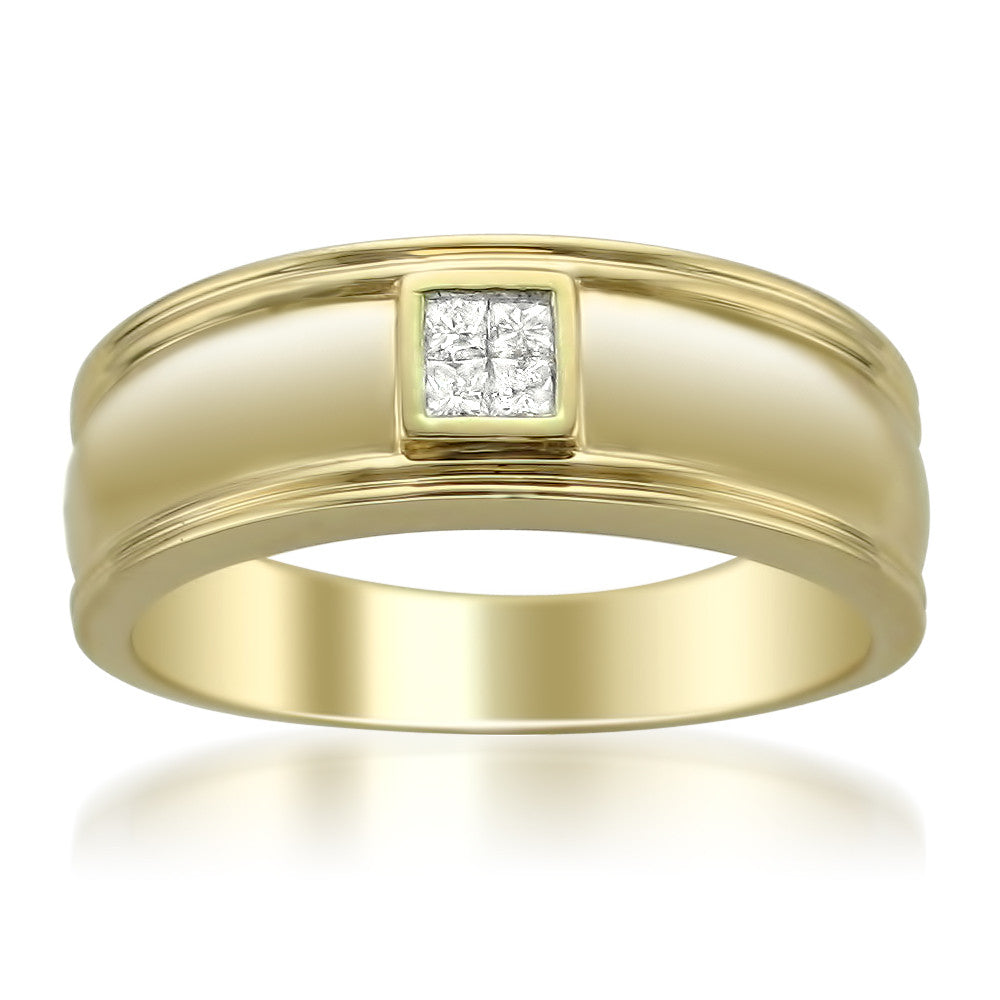 14k Yellow Gold Princess-cut Diamond Men