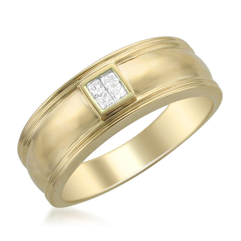 14k Yellow Gold Princess-cut Diamond Men's Wedding Band Ring (1/6 cttw, H-I, I1-I2)