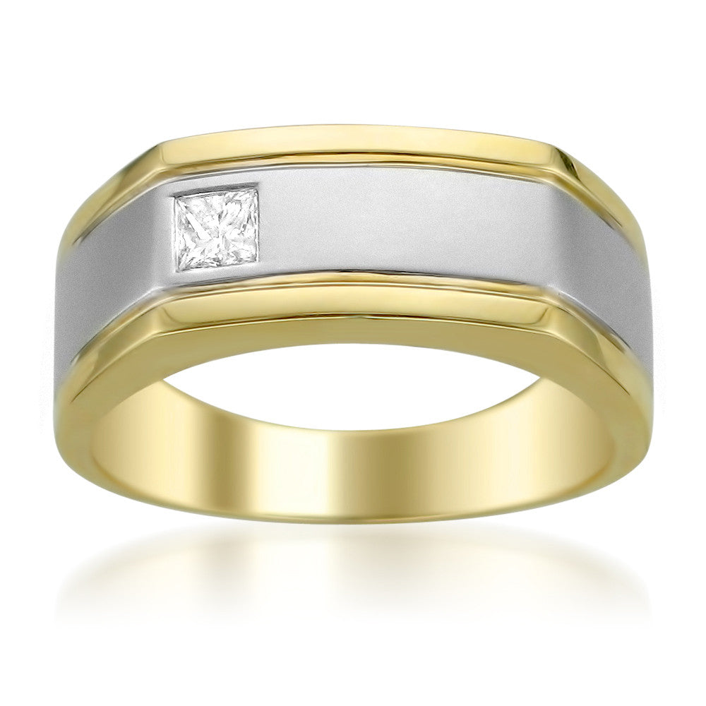 14k Two-Tone Gold Princess-cut Diamond Men