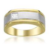 14k Two-Tone Gold Princess-cut Diamond Men's Wedding Band Ring (1/5 cttw, I-J, I1-I2)