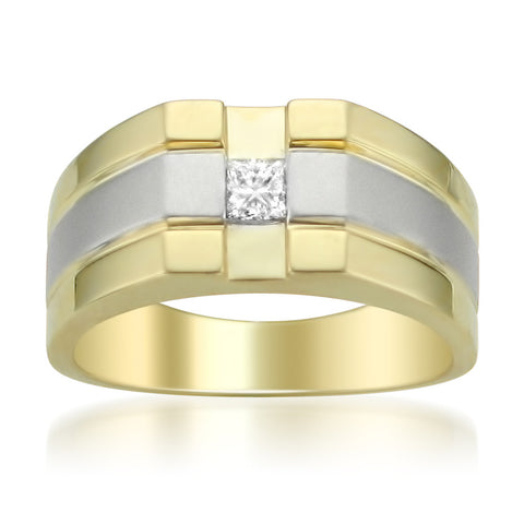 14k Two-Tone Gold Princess-cut Diamond Men's Wedding Band Ring (1/4 cttw, H-I, I1-I2)