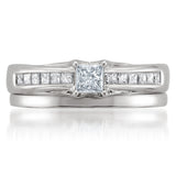 14k White Gold Princess-cut Diamond Engagement Bridal Wedding Set Ring (5/8 cttw, I-J, I1-I2)
