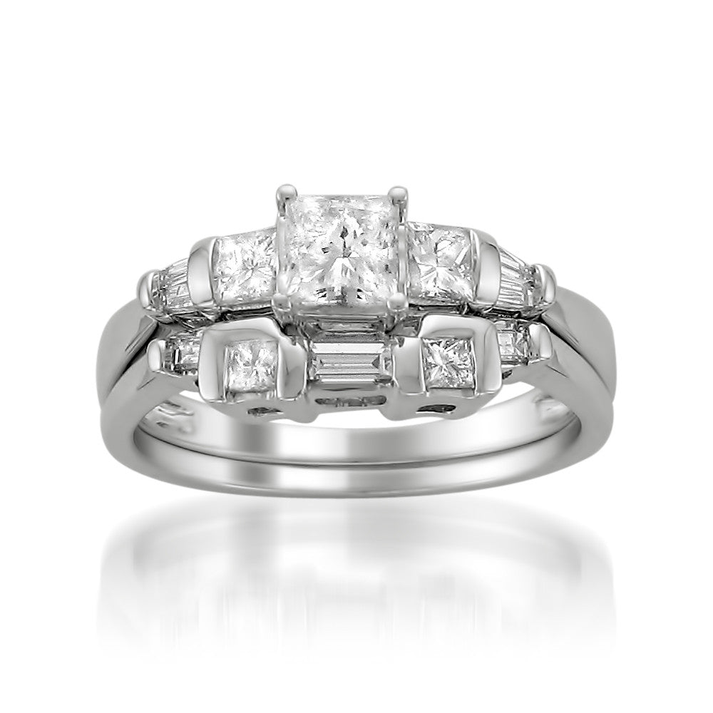 14k White Gold Princess Cut Baguette Diamond Engagement Bridal Wedding Set Ring 1 Cttw I J I1 I2