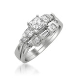 14k White Gold Princess-cut & Baguette Diamond Engagement Bridal Wedding Set Ring (1 cttw, I-J, I1-I2)