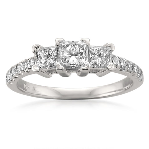 14k White Gold Three-Stone Princess-cut & Round Diamond Engagement Ring (1 cttw, H-I, SI2-I1)