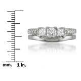 14k White Gold Princess-cut & Round Diamond Engagement Bridal Set Wedding Ring (1 cttw, H-I, SI2-I1)