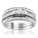 14k White Gold Princess-cut Three-Stone Diamond 3-Piece Bridal Set Ring (1 1/4 cttw, H-I, I1-I2)