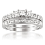 14k White Gold Princess-cut Three-Stone Diamond Bridal Set Ring (1 cttw, H-I, I1-I2)