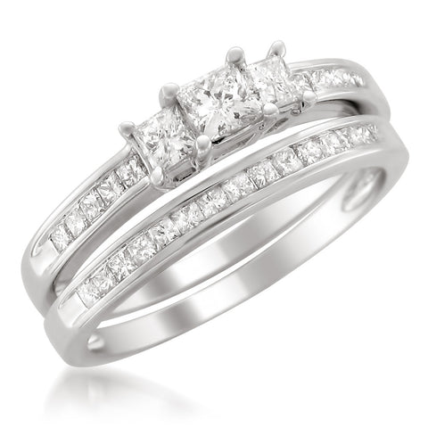 14k White Gold Princess-cut Three-Stone Diamond Bridal Wedding Set Ring (1 cttw, H-I, VS2-SI1)
