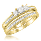 14k Yellow Gold Princess-cut Three-Stone Diamond Bridal Set Ring (1 cttw, H-I, I1-I2)