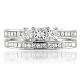 14k White Gold Princess-cut Three-Stone Diamond Bridal Set Ring (1 1/2 cttw, I-J, I1-I2)