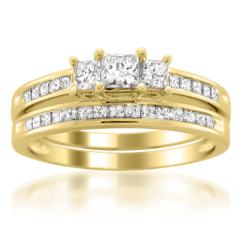 14k Yellow Gold Princess-cut Three-Stone Diamond Bridal Set Ring (1 1/2 cttw, H-I, I1-I2)