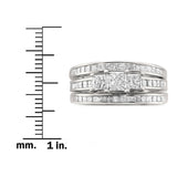 14k White Gold Princess-cut Three-Stone Diamond 3-Piece Bridal Set Ring (1 4/5 cttw, H-I, I1-I2)