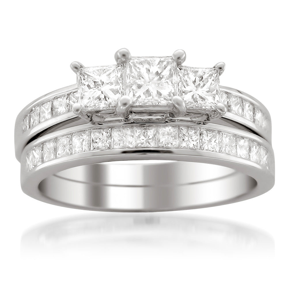 14k White Gold Princess-cut Three-Stone Diamond Bridal Wedding Set Ring (2 cttw, H-I, SI1-SI2)
