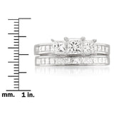14k White Gold Princess-cut 3 Three-Stone Diamond Bridal Set Ring (2 cttw, H-I, I1-I2)