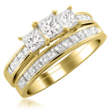 14k Yellow Gold Princess-cut Three-Stone Diamond Bridal Set Ring (2 cttw, I-J, I1-I2)