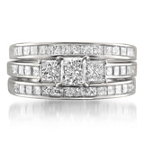 14k White Gold Princess-cut Three-Stone Diamond 3-Piece Bridal Set Ring (2 1/2 cttw, H-I, I1-I2)