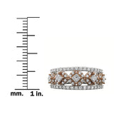 14k Two-Tone White & Rose Gold Princess-cut & Round Diamond Bridal Wedding Band Ring (1 cttw, H-I, I1-I2)
