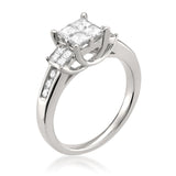 14k White Gold Princess-cut & Round Diamond Three-Stone Engagement Wedding Ring (1 cttw, H-I, I1-I2)