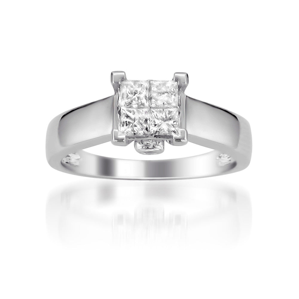 bijoux v cut multi invisible o majesty set princess engagement white prong ring stone diamond in