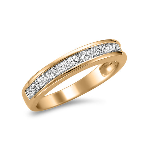 14k Rose Gold Princess-cut Diamond Bridal Wedding Band Ring (1 cttw, I-J, I2-I3)