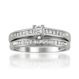 14k White Gold Princess-cut Diamond Engagament Wedding Bridal Set Ring Band (1/2 cttw, I-J, I2-I3)