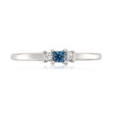 14k White Gold Princess-cut 3-Stone Diamond & Blue Sapphire Engagement Promise Ring (1/5 ctw, I-J, I1-I2)