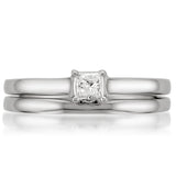 14k White Gold Princess-cut Solitaire Diamond Bridal Ring Set (1/4 cttw, I-J, I1-I2)