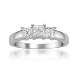 14k White Gold Princess-cut Three-Stone Diamond Engagement Ring (1 cttw, H-I, I1-I2)