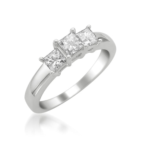 Platinum Princess-cut Three-Stone Diamond Engagement Ring (1 cttw, H-I, SI1-SI2)
