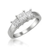 14k White Gold Princess-cut 3-Stone Three-Stone Diamond Engagement Ring (1 1/2 cttw, I-J, I1-I2)