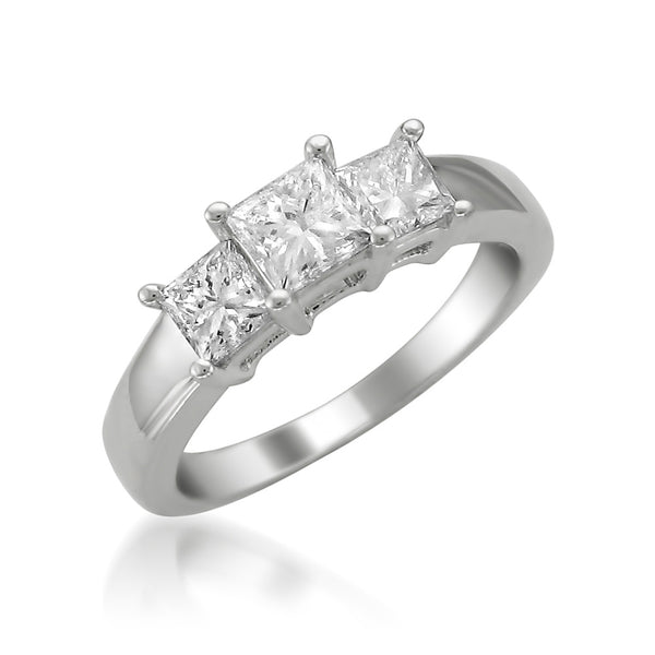 ffdf2e222 ... 14k White Gold Princess-cut 3-Stone Three-Stone Diamond Engagement Ring  ...