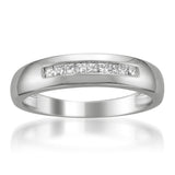 14k White Gold Princess-cut Diamond Men's Wedding Band Ring (1/4 cttw, I-J, I1-I2)
