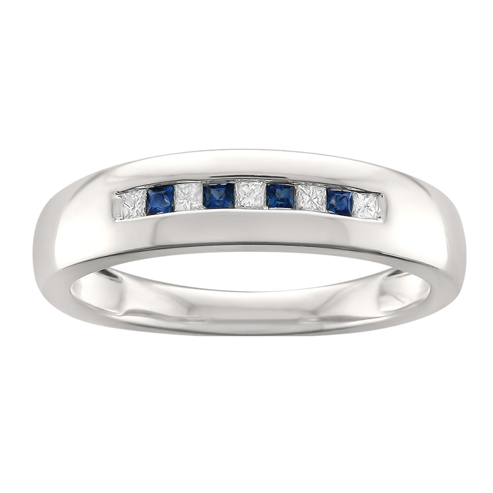 14k White Gold Princess-cut Diamond & Blue Sapphire Men