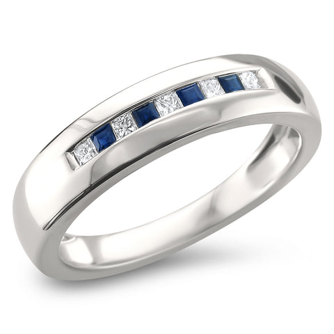 14k White Gold Princess-cut Diamond & Blue Sapphire Men's Wedding Band Ring (1/4 cttw, I-J, I2)