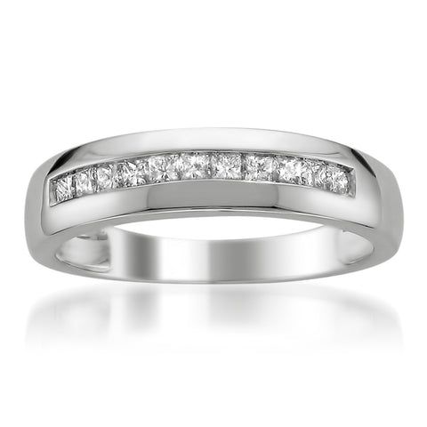 14k White Gold Princess-cut Diamond Men's Wedding Band Ring (1/2 cttw, I-J, I1-I2)