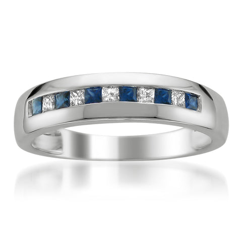 14k White Gold Princess-cut Diamond & Blue Sapphire Men's Wedding Band Ring (1/2 cttw, I-J, I1-I2)