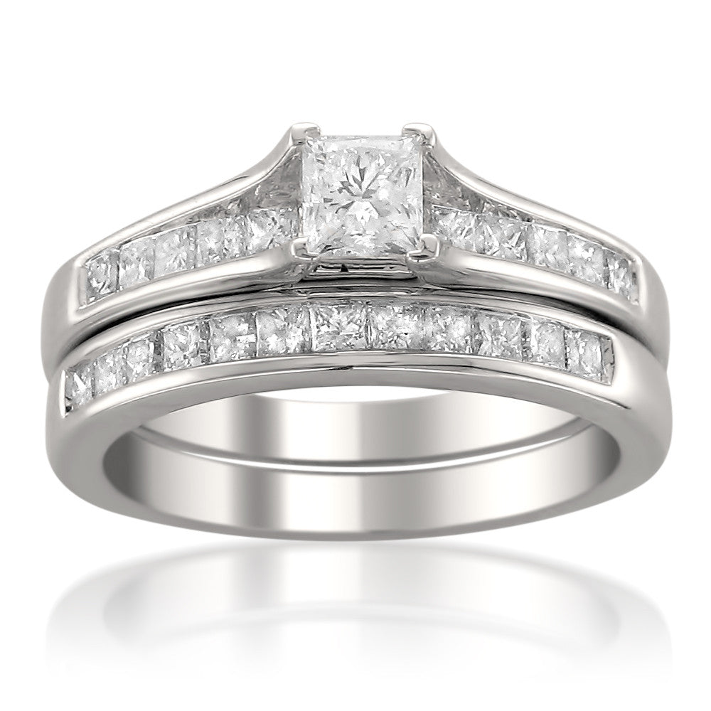 14k White Gold Princess-cut Diamond Engagement Bridal Set Wedding Ring (1 1/2 cttw, H-I, I1)
