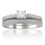 14k White Gold Vintage-Style Princess-cut Diamond Wedding Bridal Set Ring (5/8 cttw, H-I, I1)
