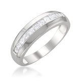 14k White Gold Princess-cut Diamond Men's Wedding Band Ring (1 cttw, H-I, SI2-I1)