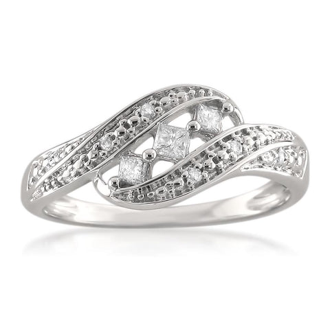 14k White Gold Princess-cut & Round Diamond Fashion Band Ring (1/5 cttw, H-I, I1-I2)